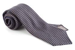 Micro Square Printed Wool Tie - Untipped - Navy Blue/Brown