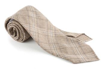 Glencheck Cashmere/Wool Tie - Untipped - Beige