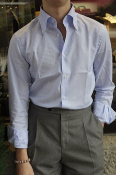 Bengal Stripe Oxford Shirt - Light Blue/White