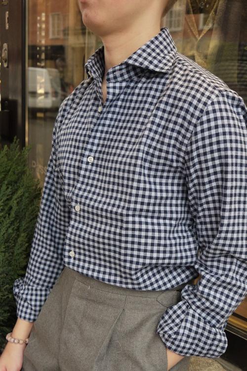 Check Flannel Shirt - Cutaway - Navy Blue/Light Blue