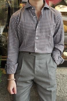 Check Flannel Shirt - Cutaway - Light Blue/Brown