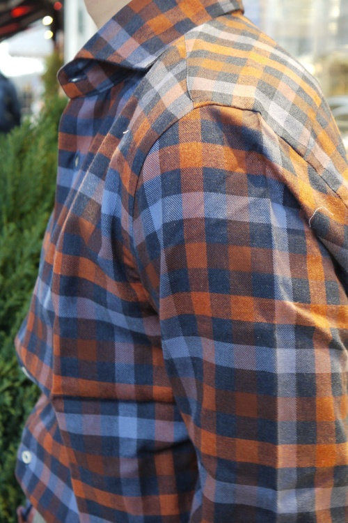 Large Check Flannel Shirt - Cutaway - Navy Blue/Orange
