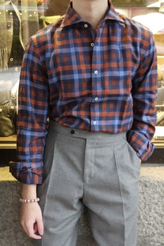 Large Check Flannel Shirt - Cutaway - Navy Blue/Orange