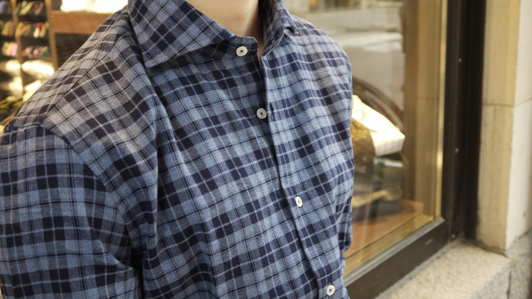 Large Check Flannel Shirt - Cutaway - Navy Blue/Light Blue