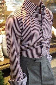 Bengal Stripe Twill Shirt - Button Down - Burgundy/White