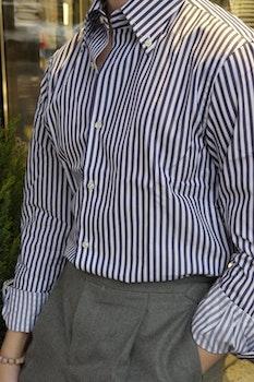 Bengal Stripe Twill Shirt - Button Down - Navy Blue/White