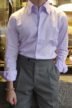 Thin Stripe Dobby Shirt - Button Down - Purple