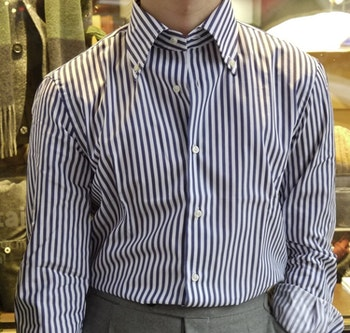 Bengal Stripe Twill Shirt - Button Down - Navy Blue/White