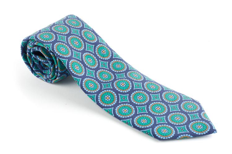 Medallion Madder Silk Tie - Navy Blue/Turquoise