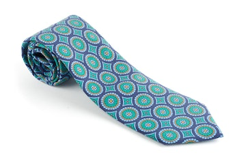 Medallion Madder Silk Tie - Navy Blue/Turquoise