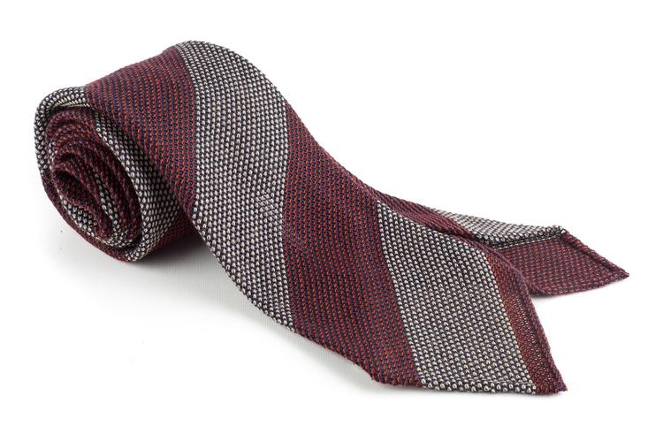 Blockstripe Cashmere/Wool Grenadine Tie - Untipped - Burgundy/Beige