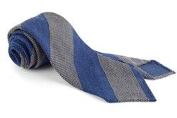 Blockstripe Cashmere/Wool Grenadine Tie - Untipped - Mid Blue/Beige