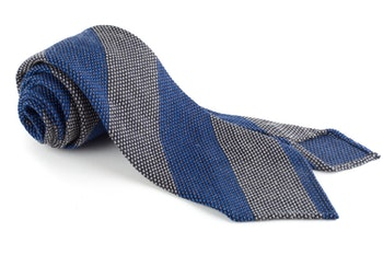 Blockstripe Cashmere/Wool Grenadine Tie - Untipped - Mid Blue/Beige