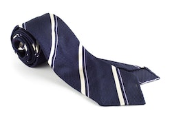Regimental Silk Grenadine Tie - Untipped - Navy Blue/Purple