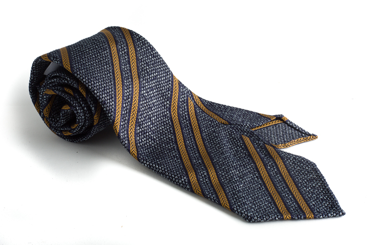 Regimental Silk Grenadine Tie - Untipped - Grey/Navy/Mustard