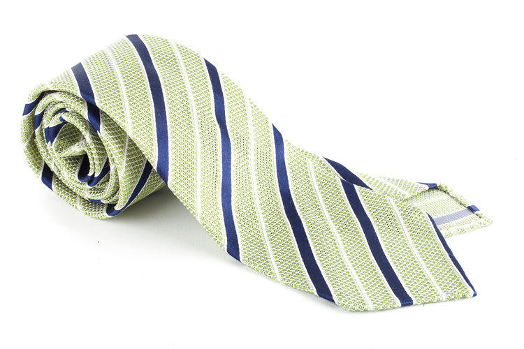 Regimental Silk Grenadine Tie - Untipped - Light Green/Navy Blue