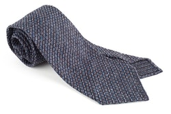 Solid Jacquard Grenadine Tie - Untipped - Navy Blue/Brown