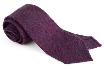 Solid Shantung Grenadine Tie - Untipped - Navy Blue/Burgundy
