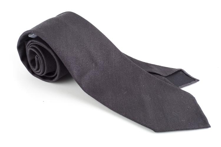 Solid Wool Tie - Untipped - Dark Grey