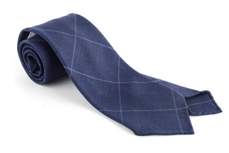 Check Wool Tie - Untipped - Navy Blue/Grey