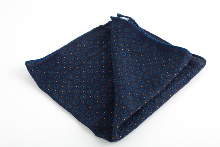 Micro Square Wool Pocket Square - Navy Blue