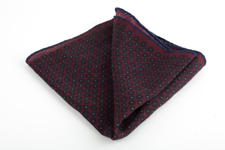 Micro Square Wool Pocket Square - Burgundy