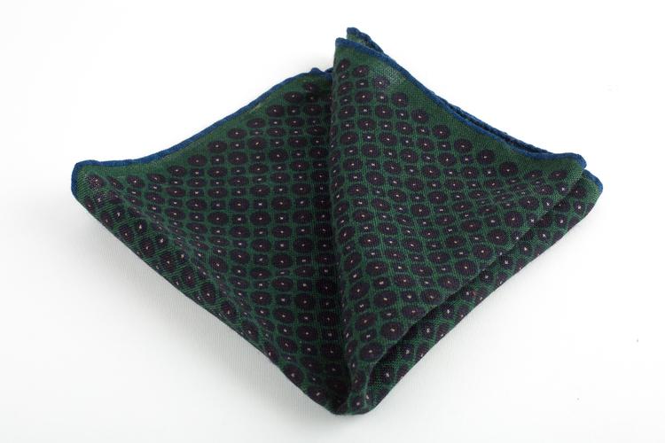 Micro Square Wool Pocket Square - Green