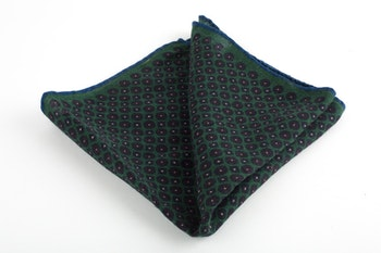 Micro Square Wool Pocket Square - Green