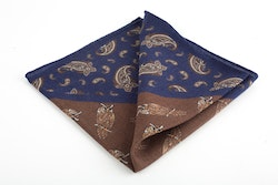 Owl Wool Pocket Square - Brown/Navy Blue
