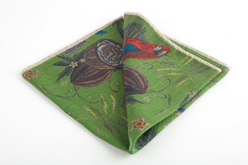 Parrot Wool Pocket Square - Green