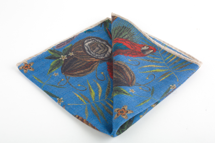 Parrot Wool Pocket Square - Blue