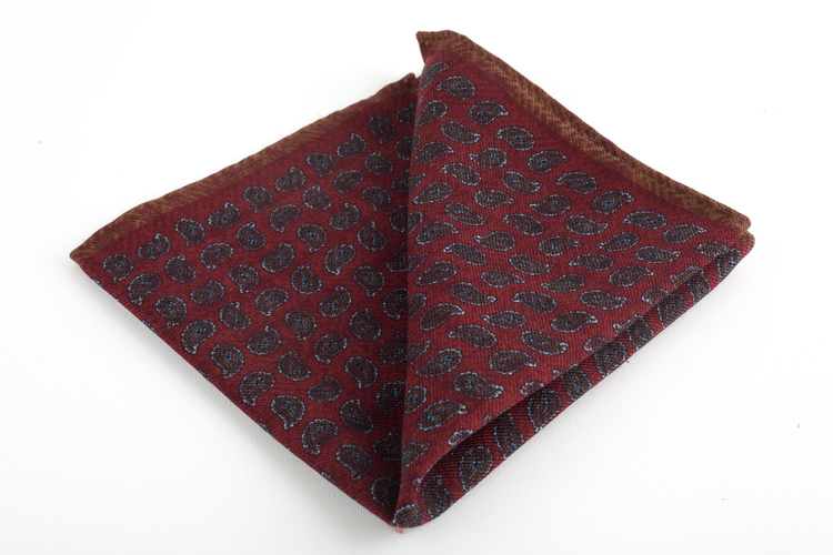 Paisley Wool Pocket Square - Burgundy/Brown
