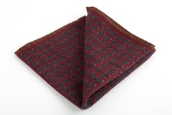 Paisley Wool Pocket Square - Burgundy/Brown