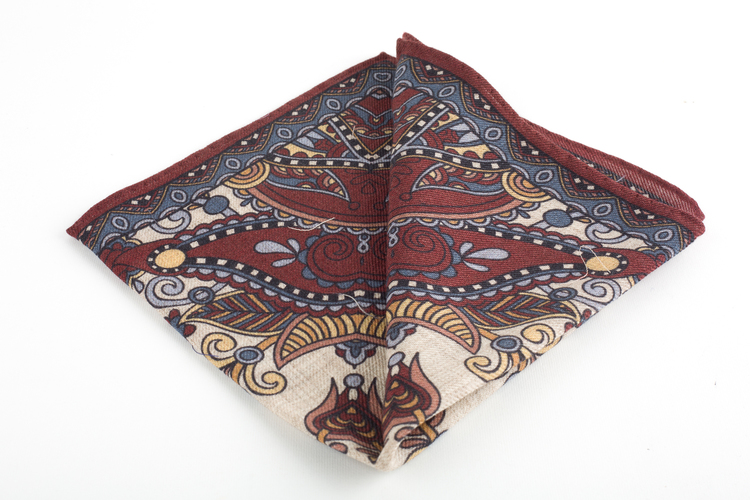 Oriental Wool Pocket Square - Burgundy/Beige