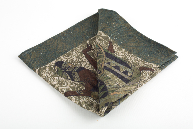 Africa Wool Pocket Square - Green