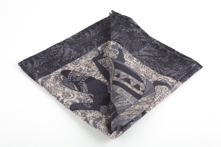 Africa Wool Pocket Square - Grey