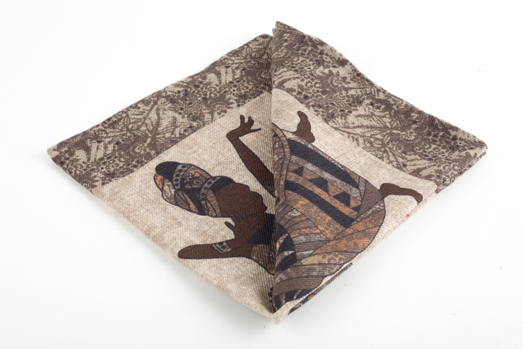 Africa Wool Pocket Square - Beige