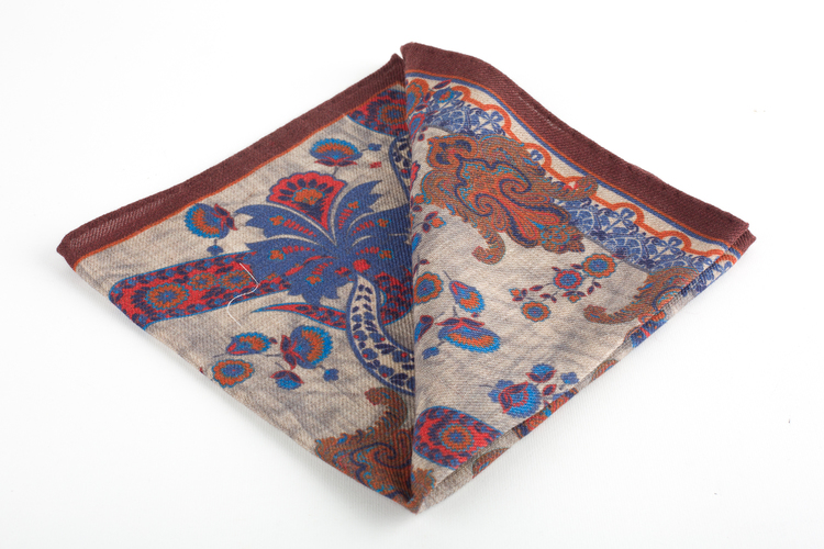 Paisley Wool Pocket Square - Burgundy/Beige/Light Blue/Orange