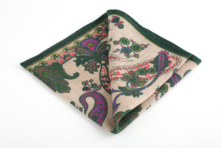 Paisley Wool Pocket Square - Green/Beige