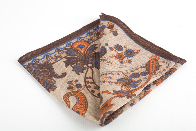 Paisley Wool Pocket Square - Beige/Rust