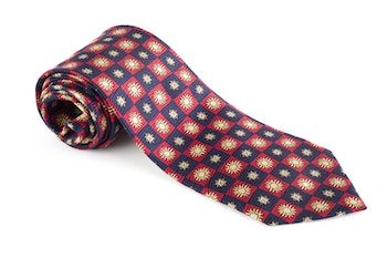 Sole Vintage Silk Tie - Burgundy/Navy Blue