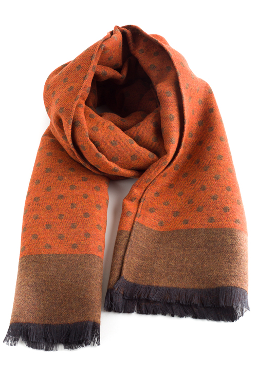 Polka Dot Wool/Silk Scarf - Orange/Beige