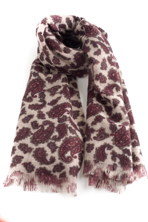 Thin Paisley Cashmere Scarf - Beige/Burgundy