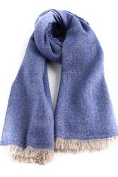Thin Herringbone Cashmere Scarf - Blue
