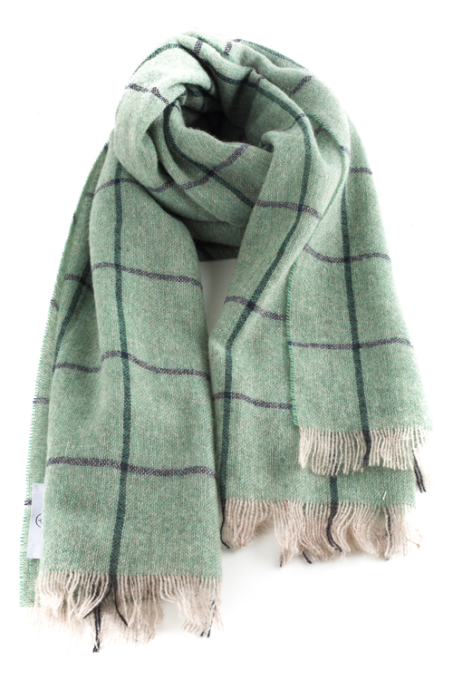 Thin Check Cashmere Scarf - Mint Green/Navy Blue