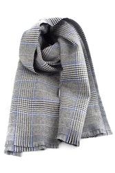 Glencheck/Solid Double Wool Scarf - Grey