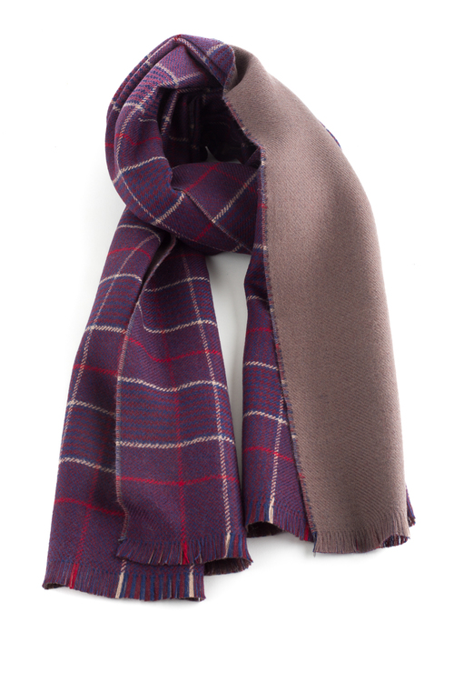 Glencheck/Solid Double Wool Scarf - Purple/Beige