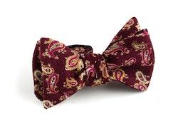 Paisley Wool Bow Tie - Burgundy/Beige