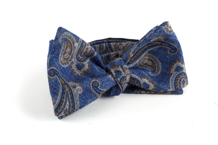 Paisley Wool Bow Tie - Blue/Grey