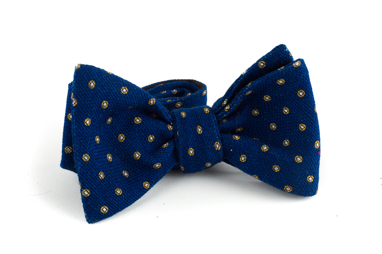 Floral Wool Bow Tie - Navy Blue/Yellow